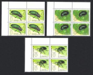 New Caledonia Leaf Beetles Chrysomelidae Insects 3v Top Left Blocks of 4
