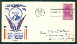 US #854 3¢ Inauguration FDC, Clifford cachet