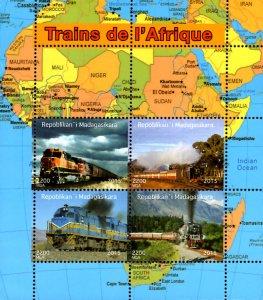 Madagascar 2015 African Trains Railways Transports Maps 4v MNH S/S. (#056)