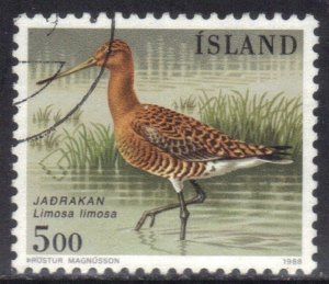ICELAND   SC# 665 **USED** 5k 1988  BIRD  SEE SCAN