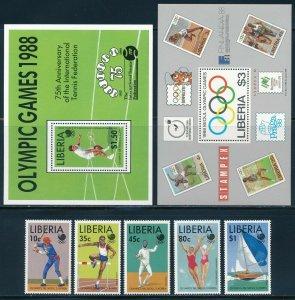 Liberia - Seoul Olympic Games MNH Sports Set (1988)