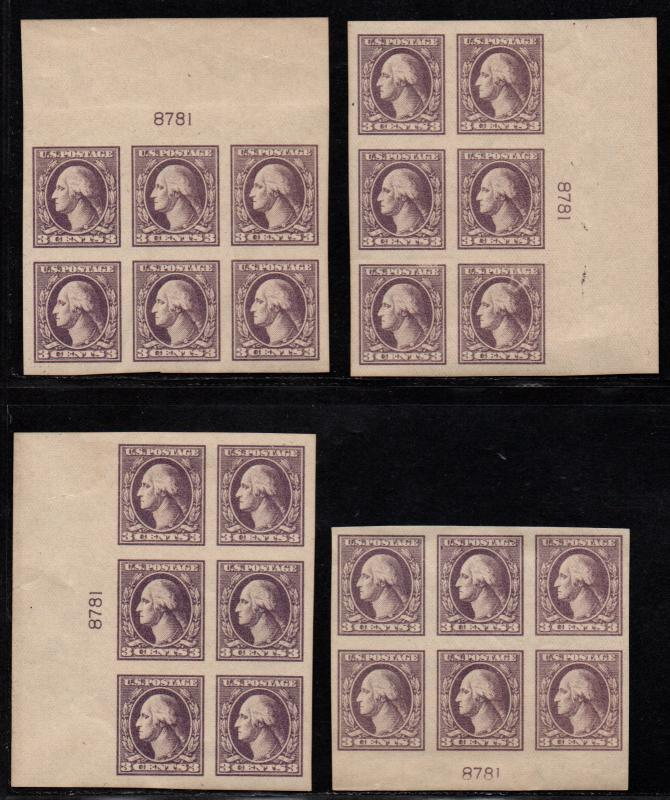 $US Sc#535 M/2H-2NH/VF scarce matching Plate Blocks, Cv. $430