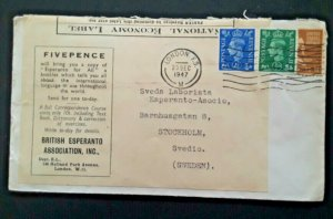 1947 London To Stockholm Sweden British Esperanto Assoc Advertisement Cover