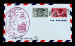 US Stamp Sc# 985 & 998 First Flight Cover ROSEBURG Oregon AM-77 Signed by PM.