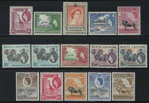 Kenya, Uganda, Tanganyika (KUT) Scott 103-117 Mint Hinged