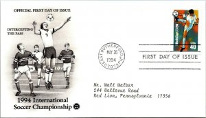 International Soccer Championship Intercepting Pass First Day Cover 1994 cachet