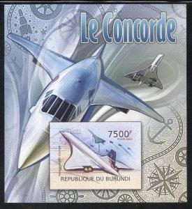 Burundi 1089 MNH The Concorde Aircraft Souvenir Sheet from 2012