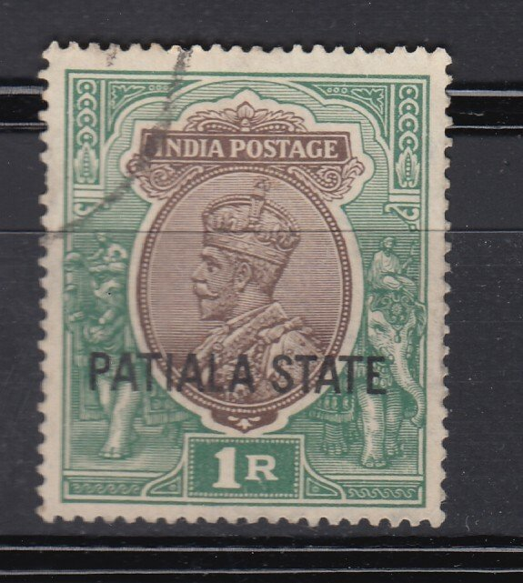 J28368, 1928-34 india convention states patiala used #70 king ovpt