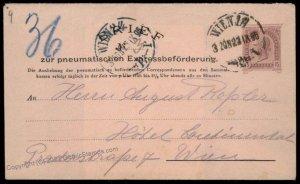 Austria Empire 1895 Rohrpost Pneumatic Mail Postal Stationery Envelope G67174