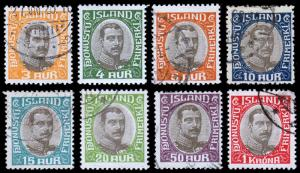Iceland Scott O40-47 (1920) Used/Mint H F-VF, CV $22.25 B