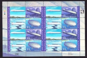Marshall Islands #739 Anniversary of the Zeppelin MNH sheet of 16