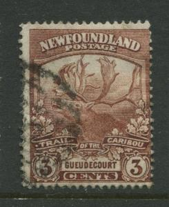 Newfoundland - Scott 117 - Caribou Issue - 1919 - FU - Single 3c Stamp