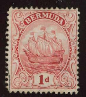 BERMUDA Scott 83a Used type II Caravel tall ship  1926  wmk 4