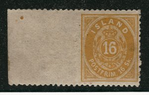 Iceland Attractive Facit #7V2 Mint OG XF Imperf Margin CV $900+..Very rare!!