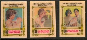 KOREA PDR 1982 PRINCE WILLIAM BIRTH 3D Set Sc 2239-2241 MNH