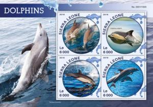 Sierra Leone MNH S/S Dolphins Marine Life 2016 4 Stamps