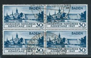 Germany Baden 5N41 Constance Cathedral Block of 4 Used