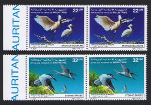 Mauritania Birds Spoonbill Terns 2v issue 1986 in pairs with Left Margin