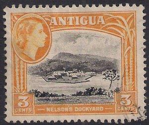 Antigua 1953 - 62 QE2 3d Nelsons Dockyard used SG 123a ( F35 )
