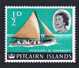 Pitcairn Longboat overprinted Bounty 1v ?d SG#69 SC#72 MI#72