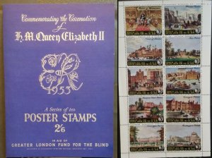 1953 Cinderella Poster Coronation of QE II Stamps London Fund for Blind 2/6d