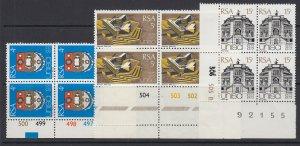 South Africa, Scott 389-391, MNH blocks of four