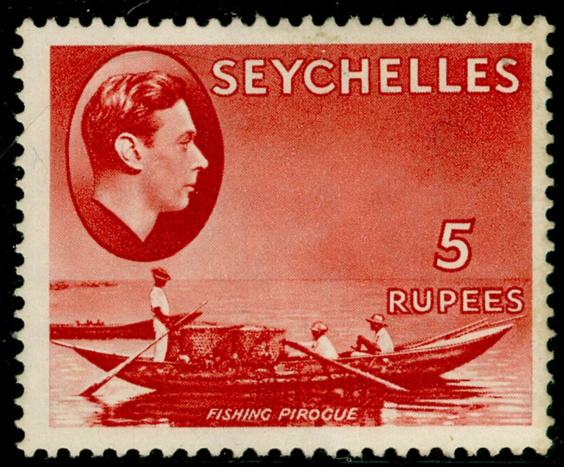 SEYCHELLES SG149, 5r red, LH MINT. Cat £32. CHALKY