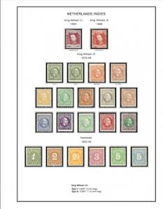 COLOR PRINTED NETHERLANDS INDIES 1864-1949 STAMP ALBUM PAGES (34 illustr. pages)