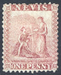 Nevis 1861 1d Dull Lake PERF 13 Grey Paper SG 5 Scott 5 LMM/MLH Cat £100($130)