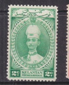 KELANTAN, 1937 Sultan Ismail, 2c. Green, lhm.