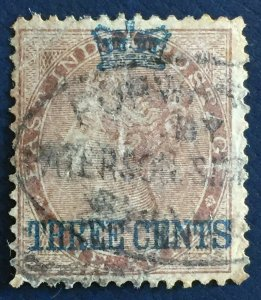 MALAYA Straits Settlements 1867 3c on India QV 1a Used SG#3 M2811