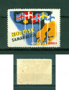 Denmark. Poster Stamp Mnh. Norden Nordic Co-Operation. National Flags,Map.