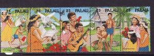 Palau-Scott#253a-Unused NH strip-Christmas-1990-