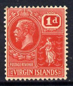 British Virgin Islands 1922-28 KG5 Script CA 1d scarlet m...