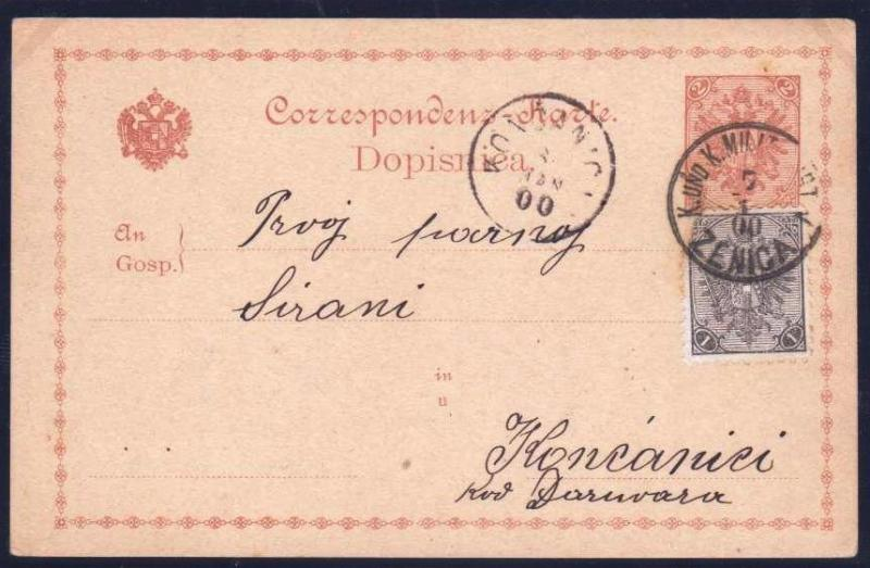 AUSTRIA BOSNIA  1900. mixed currency florin and crown ZENICA  ...see description