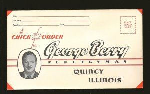 USA Vintage George Berry Poultryman Quincey Illinois Advertising Envelope Unused
