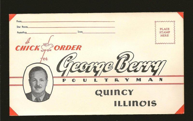 USA Vintage George Berry Poultryman Quincey Illinois Advertising Envelope Unused