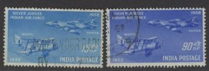 INDIA SG397/8 1958 SILVER JUBILEE OF INDIAN AIR FORCE USED