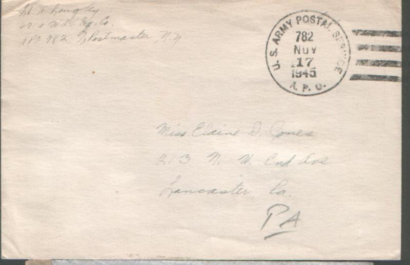 USA 1945 stampless env US ARMY POSTAL SERVICE APO782 canc