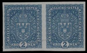 Austria 1917 Mi204 2Kr Imperf Pair Mint No Gum Proof Greyish paper. 73994