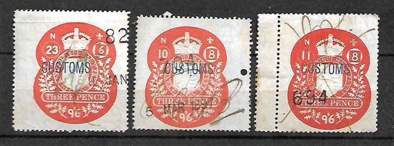GB FISCAL REVENUE TAX STAMPS QV 1896, 3p, DIFFERENT ISSUE DATES