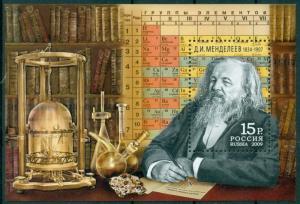 Russia 2009,S/S Great Chemist D.Mendeleev, Scott # 7128,XF MNH** (AP-1)
