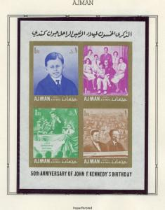 AJMAN  JOHN F KENNEDY MEMORIAL PERF & IMPERF  STAMPS  & SHEETLETS MINT NH
