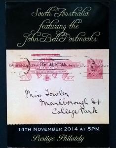 Auction catalogue SOUTH AUSTRALIA John Bell Postmarks Covers Postal History