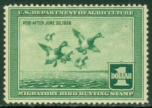 EDW1949SELL : USA 1937 Scott #RW4 Mint NH. Couple of natural gum skips Cat $300.