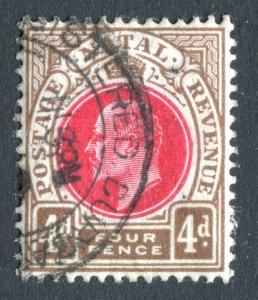 Natal 1902 KEVII. 4d carmine & cinnamon. Used. Crown CA. SG133.