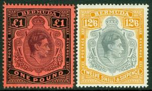 BAHAMAS : 1938. Stanley Gibbons #120a, 121 Mint OG. Both with gum thins Cat £500