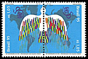 Brazil 2561a, MNH, 50th Anniversary of United Nations, se-tenant pair