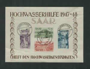 1948 SAAR Semi-Postal French Protectorate Stamp #B64a Souvenir Sheet Canceled