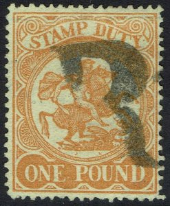 VICTORIA 1884 ST GEORGE & DRAGON STAMP DUTY 1 POUND USED